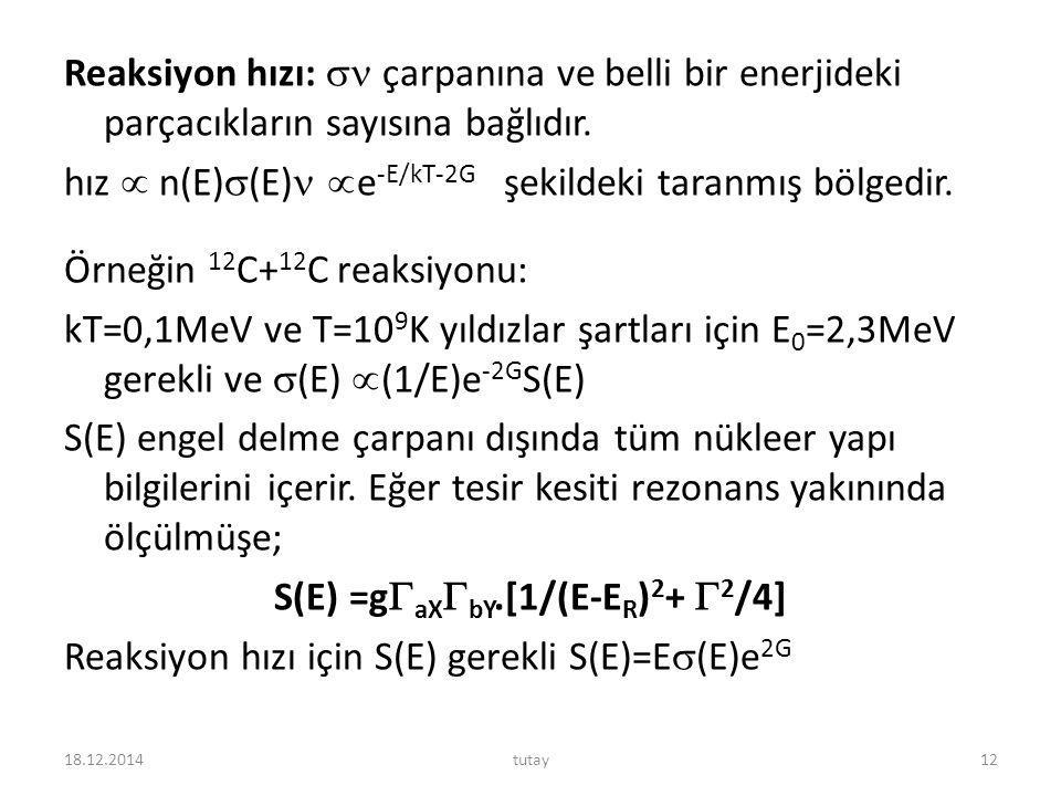 Reaksiyon hızı:  çarpanına ve belli bir enerjideki parçacıkların sayısına bağlıdır. hız  n(E)(E) e-E/kT-2G şekildeki taranmış bölgedir. Örneğin 12C+12C reaksiyonu: kT=0,1MeV ve T=109K yıldızlar şartları için E0=2,3MeV gerekli ve (E) (1/E)e-2GS(E) S(E) engel delme çarpanı dışında tüm nükleer yapı bilgilerini içerir. Eğer tesir kesiti rezonans yakınında ölçülmüşe; S(E) =gaXbY.[1/(E-ER)2+ 2/4] Reaksiyon hızı için S(E) gerekli S(E)=E(E)e2G